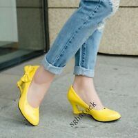 New Ladies Wedge Heels Hollow Bowknot Shallow Casual Dress Court Shoes Size 6