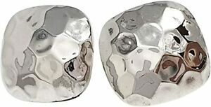 Classic 925 Sterling Silver Hammered Domed Square Stud Earrings for Women