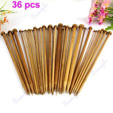 36Pcs 18 Size 1 Set Carbonized Bamboo Single Pointed Crochet Knitting Needles