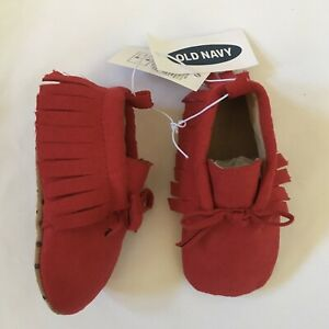 OLD NAVY NEW Baby SZ 3-6 Months Girl Boy Red Moccasins Shoes