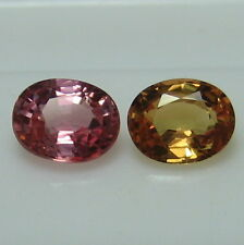 GENUINE MINED NATURAL PINK & YELLO SAPPHIRE OVAL 4.6 X 3.7 MM. 2 PCS.*4130*