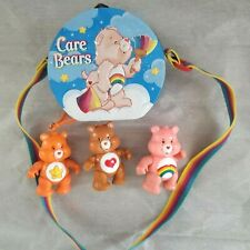 3 Care Bears & Embossed Collector's Tin Purse Case Lunch Box W/Adjustable Strap