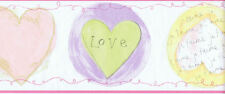 Pastel Color Hearts, 2 with Script, Wallpaper Border  TY7706B