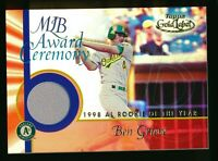 2001 Ben Grieve Topps Gold Label Game Used 1998 Rookie of the Year Oakland A's