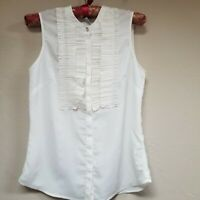 H&M Women's IVORY Ruffle Front V-Neck Sleeveless Sheer Blouse Top Size 2 US
