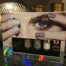 nails, inc. BLING it on Hologram Nail Polish Kit, 2 Glitter Pots, 2 Polishes NIB