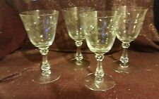 Set of Four Tall Crystal Wine or Water Glasses / Etched