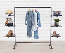 Industrial Pipe Clothing Rack With Wood Side Shelves By William Roberts Vintage
