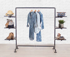 Industrial Pipe Clothing Rack with Wood Side Shelves by William Robert's Vintage