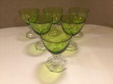 6 verres à vin blanc en cristal Modèle YALE vert. H: 122 mm VAL SAINT LAMBERT