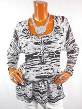 ELLEN TRACY Womens Top M Summer Tunic Shirt Tie Front Sheer Sleeve Blk Wht Gray