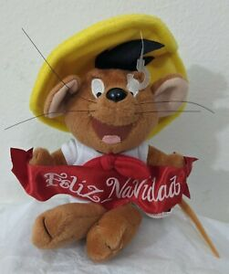 Vintage Speedy Gonzales Feliz Navidad plush Christmas Ornament Warner Bros 1999