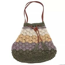 Handmade Straw Shoulder Bucket Handbag Bohemian Style - Mulicolor Green