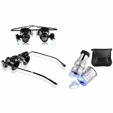 Magnifier+60x Magnifying Eye Glasses Jeweler Jewelry Loupe Loop LED Light