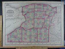 Rare Antique Original Vintage NY Asher & Adams Counties Niagara Map Art Print