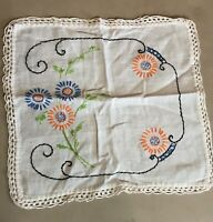 Vintage Hand Embroidered Cotton/Linen Dresser Scarf  Doily, w/ Flowers