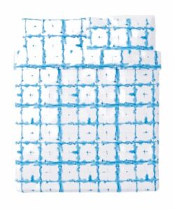 NWT IKEA TANKVARD Queen Duvet & Pillowcase Set Blue & White 100% Linen