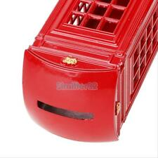 London Telephone Booth Kids Coin Saving Pot Box Metal Piggy Money Penny Bank Red
