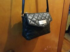 DKNY Black Quilted Genuine Leather Top Zip Crossbody Bag Purse adjustable strap