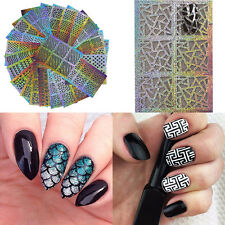 5 Sheets Mixed Stamp Tool Nail Art Decal Hollow Template Stencil Stickers Random