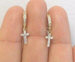 10K Solid Gold Dangle Cross Earrings 12x13mm 2mm / CZ Cross Huggie Hoop Earrings