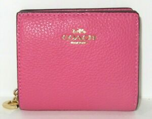 Coach C2862 Confetti Pink Pebbled Leather Snap Card Case Wallet  NWT $168
