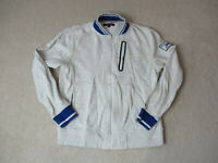 VINTAGE Tommy Hilfiger Sweater Adult Medium Gray Blue Spell Out Full Zip Mens *