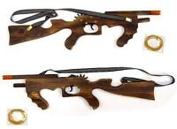2 WOODEN LARGE 21 in MACHINE GUN ELASTIC RUBBER BAND SHOOTER boys toy military