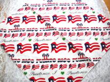 I LOVE PUERTO RICO BANDANA HEAD WRAP SCARF FLAG HEARTS TEXT WHITE RED BLUE GREEN