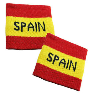 Pair of SPAIN Flag Sweatband Cheering Squad Sports Fans Sports Wristbands EURO