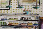 ORIGINAL Bakery Sketch cakes pies pastries watercolor impresionism