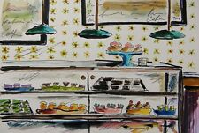 ORIGINAL Bakery Sketch cakes pies pastries watercolor impresionism