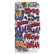 Comic Book Words Superhero DC Marvel Flip Wallet Case Cover For iPhone Samsung