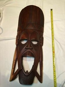 Handmade Wood African Wall Decor Mask in a rich brown wood