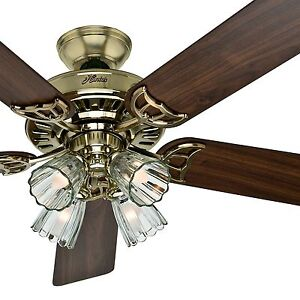 "Hunter 52"" Bright Brass Finish Ceiling Fan- Four-Light Fitter w/ Clear Glass"