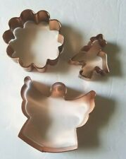 Copper Cookie Cutters Lot of 3 Shapes Angel Flower & Mini Angel Holiday Baking