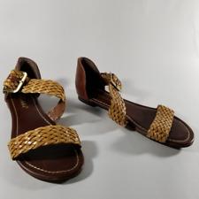 Breckelles Asymmetrical Golden Braided Strap Flat Sandals | Women's 7.5