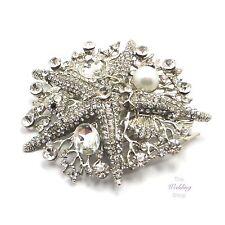 Beach Wedding Silver Starfish Shell Bridal Hair Comb HC46