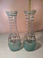 Vintage Italian Aqua & Gold Clear Glass Vases Hand Painted  Collectible set of 2