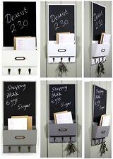 Vintage Letter Rack Holder With Key Hooks & Blackboard Wall Organiser White Grey