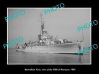 OLD 8x6 HISTORIC PHOTO OF AUSTRALIAN NAVY SHIP HMAS WARREGO c1950