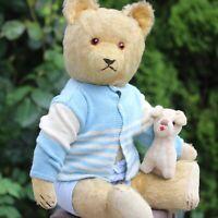 Charming Antique Teddy Bear 1930s w Voice & Hump Mohair Fur 48cm w Doll Dog