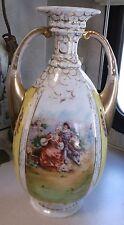 Antique Austrian Vienna portrait double handle vase signed by artist Stahl