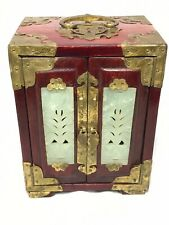 Small Antique Qing Dynasty Chinese Jewellery Box Cabinet Jade Panels Brass Bound