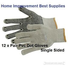 Gloves Large Cotton Elasticated cuff PVC dot Grip safety Gardening Gloves. x 12