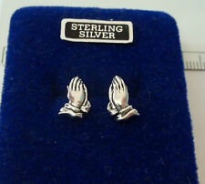 Sterling Silver TINY 12x10mm Praying Hands Religious Stud Studs Earrings!