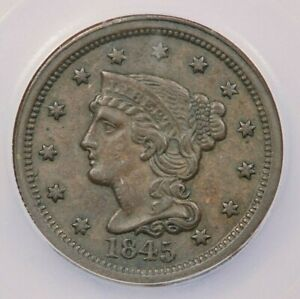 1845-P 1845 Liberty Head Braided Hair Cent ICG EF45 XF45 Details
