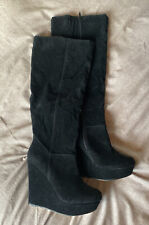 BNNW Black Faux Suede Knee High 5inch Wedge Boots UK Size 6