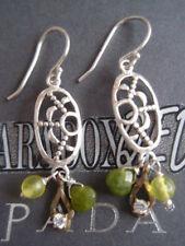 SILPADA RARE RETIRED Sterling Silver 925 Green Pyrite CZ Brass Earrings W2376