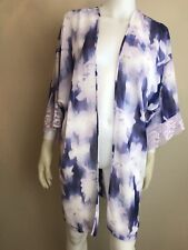 dcabda367f Women s Lavender   White Floral Printed Sheer Lingerie Robe Cover Up